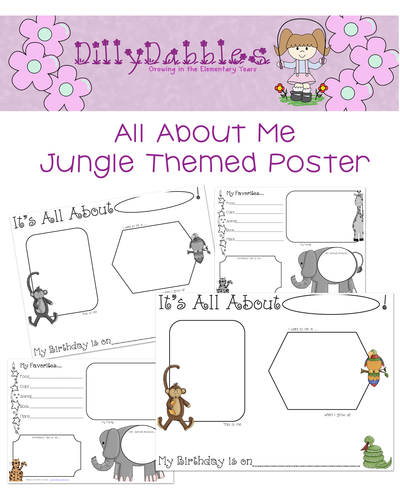 All About Me Poster, Jungle Theme