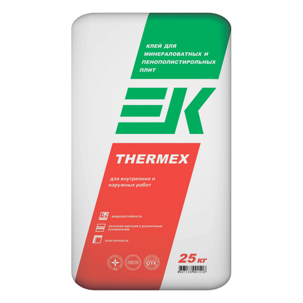 Клей для минераловатных плит и пенополистирола EK THERMEX 25 кг