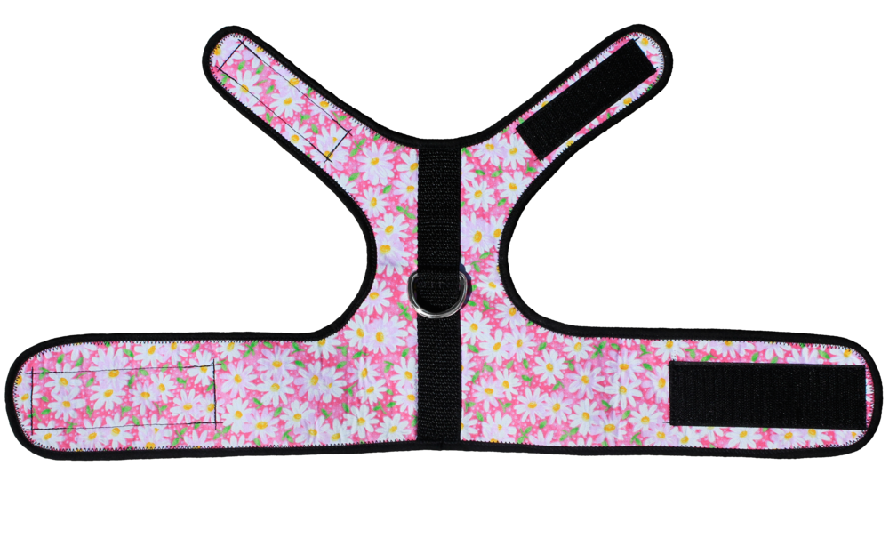 Pink floral cat harness