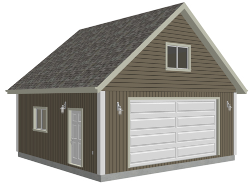 #G514 24 x 24 x 9 Loft Garage Plans in PDF and DWG